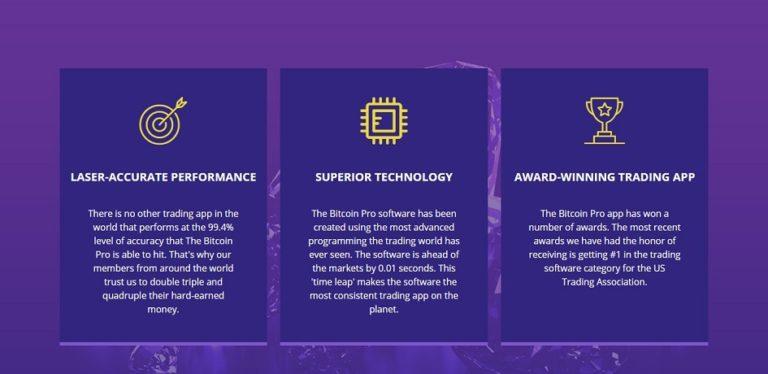 Trading platform interface Bitcoin Pro August 11, 2020