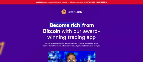 Bitcoin Rush app home screen August 11, 2020