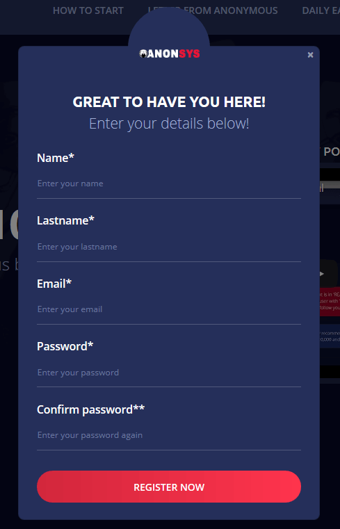 Registratieformulier van Anon System