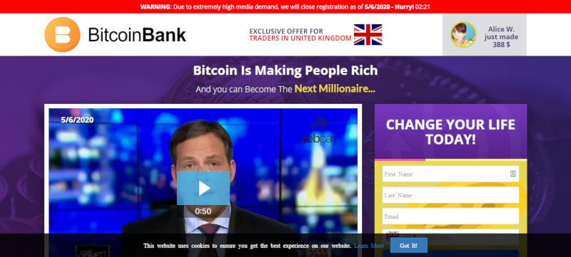 Homepage of Bitcoin Bank