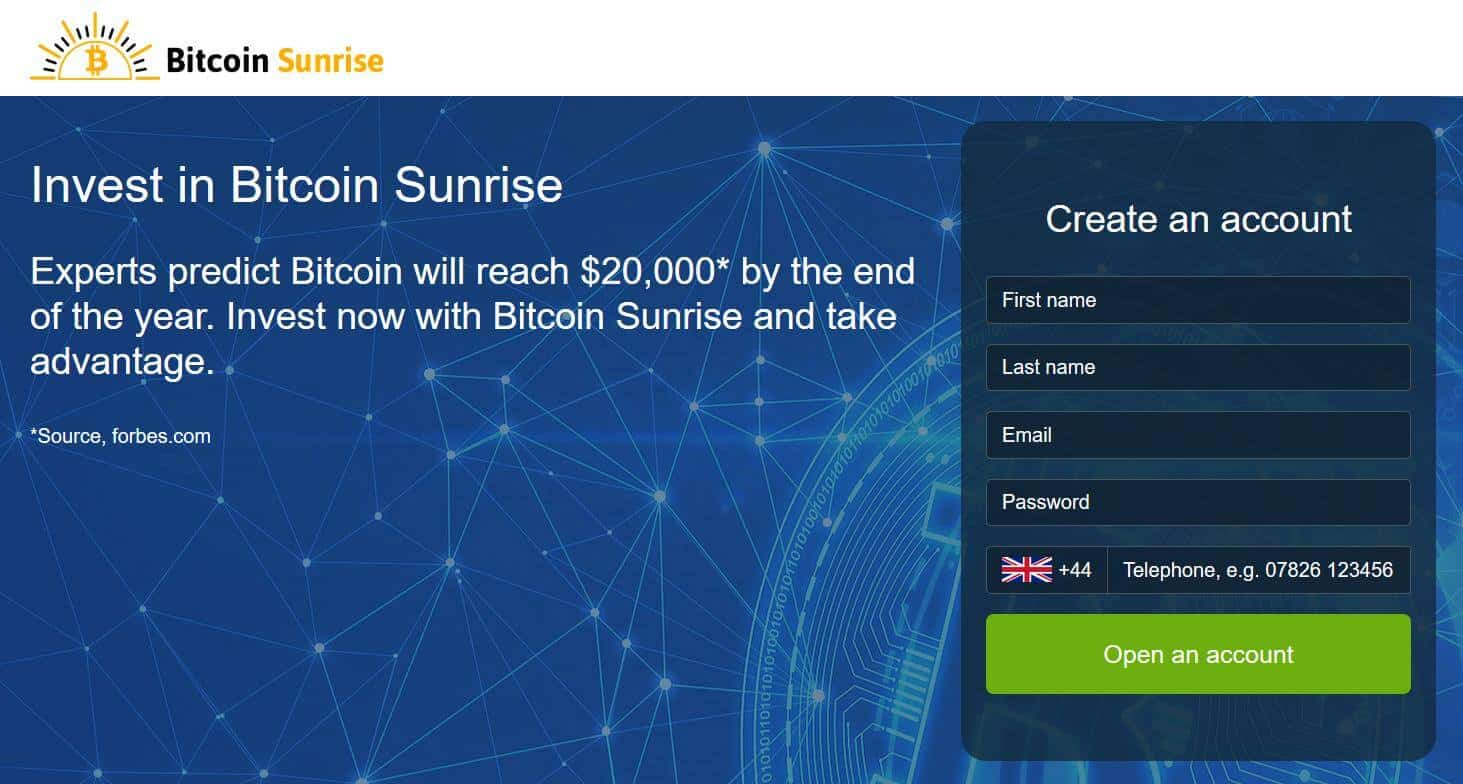 Homepage of Bitcoin Sunrise