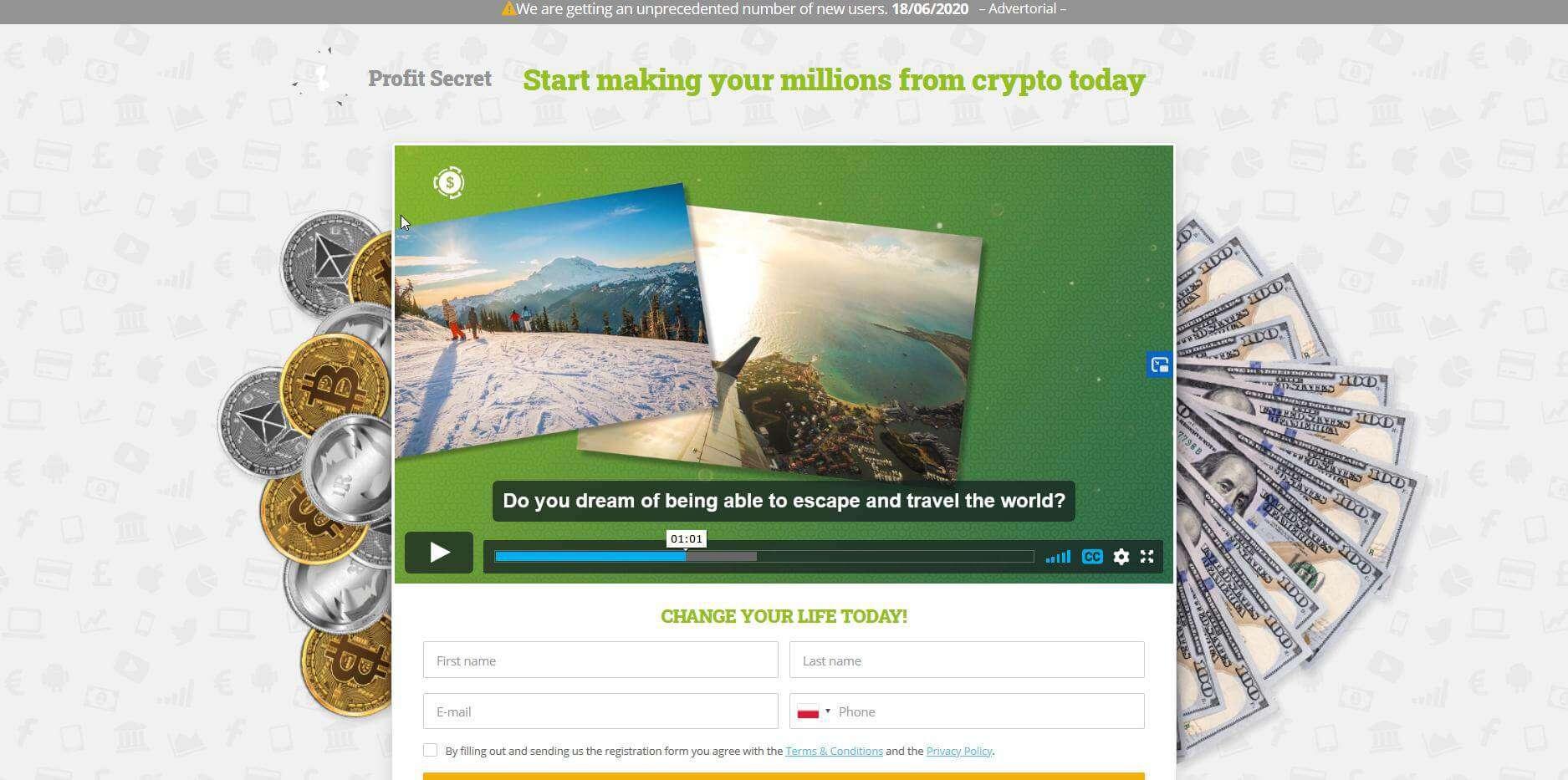 Homepagina van Profit Secret
