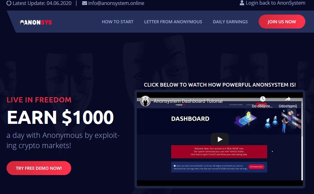 Homepage di Anon System