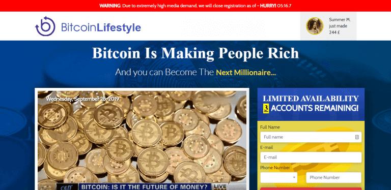 Page d'accueil de Bitcoin Lifestyle