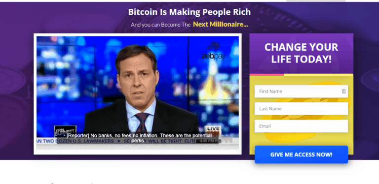 Page d'accueil de Bitcoin Pro