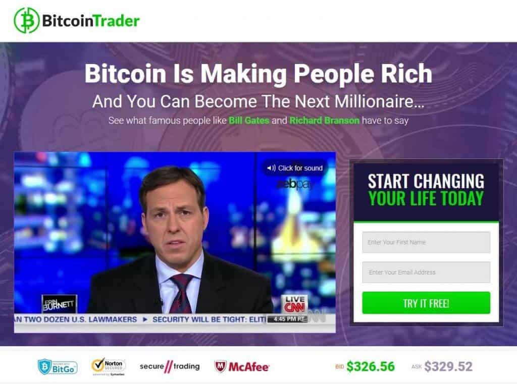 Page d'accueil de Bitcoin trader