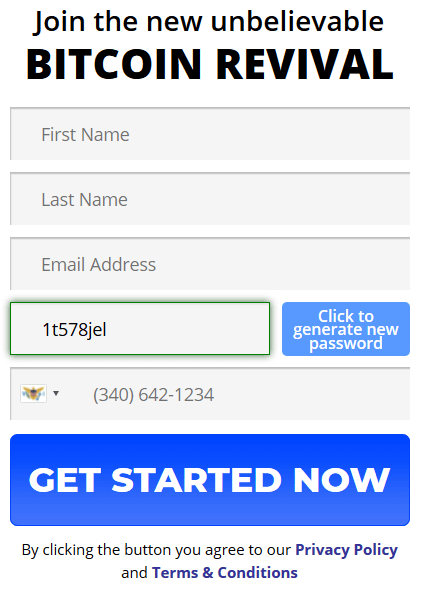 Account register form of Bitcoin Revival