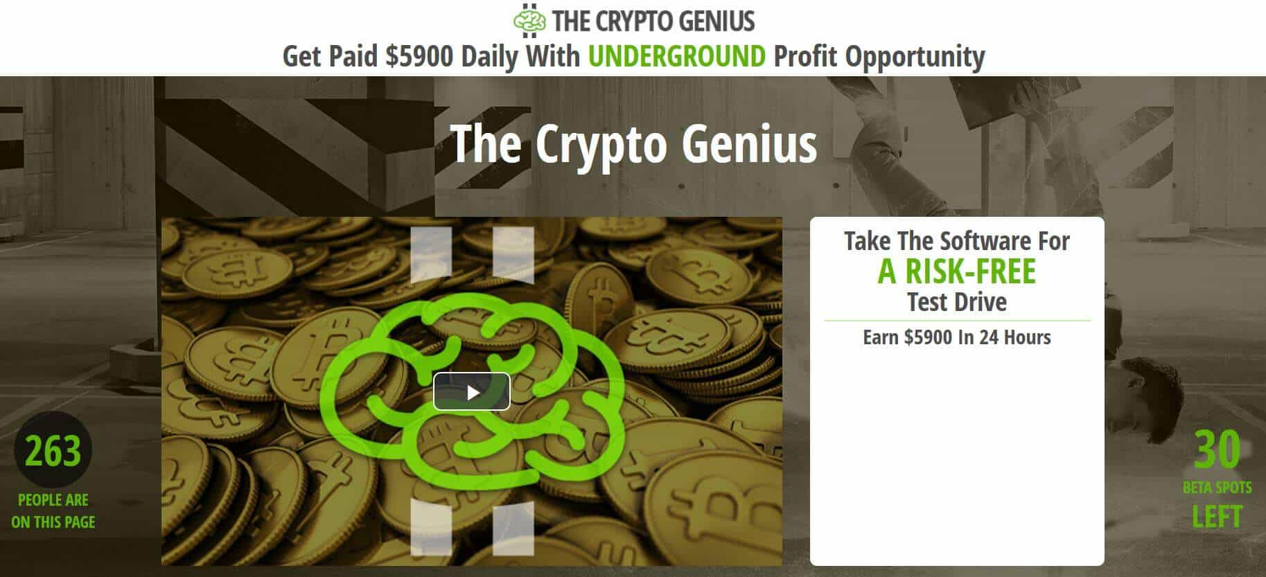 Homepage of Crypto Genius