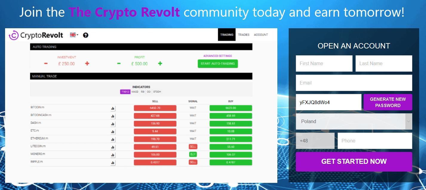 Crypto Revolt app home screen August 15, 2020