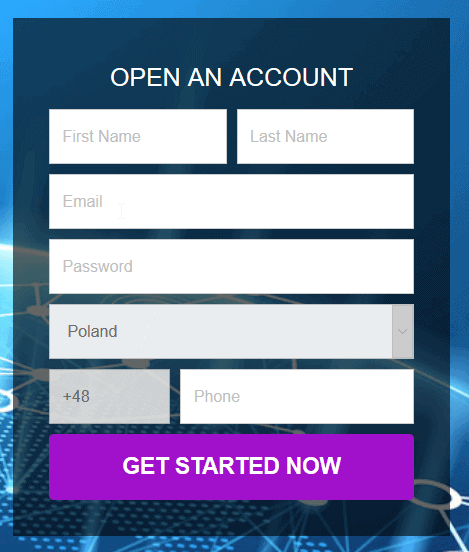 Account register form of Crypto Revolt
