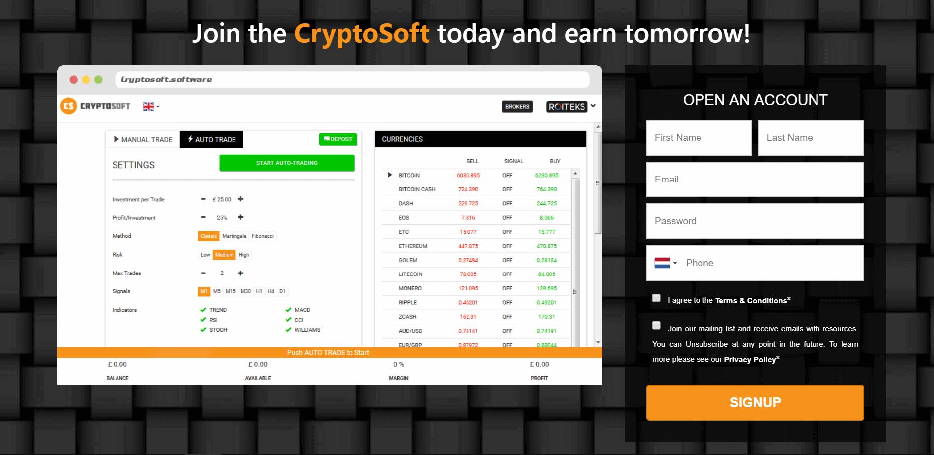 Cryptosoft app home screen August 15, 2020