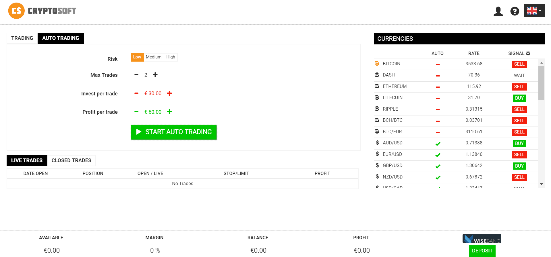 How does trading with Cryptosoft work screen